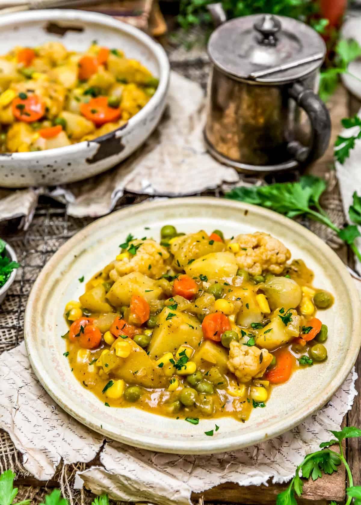Served Roasted Veggies in Golden Gravy
