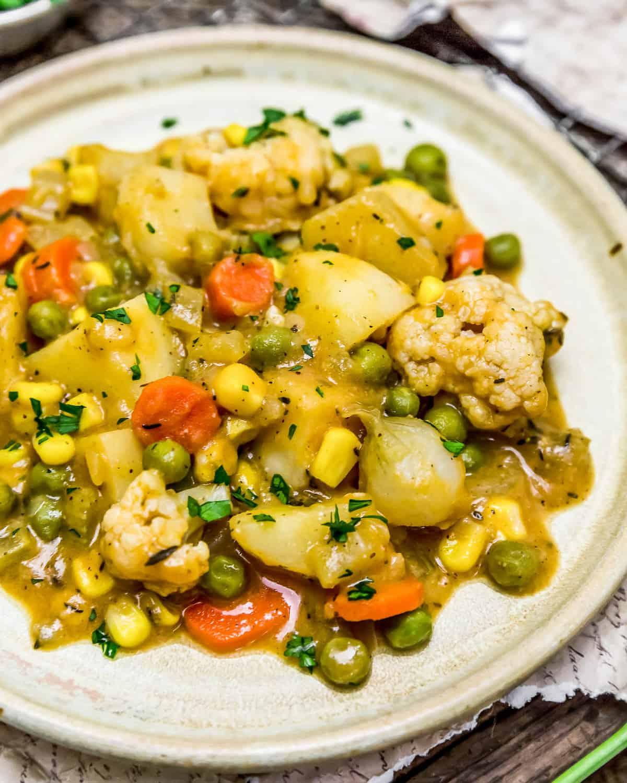 Plasted Roasted Veggies in Golden Gravy