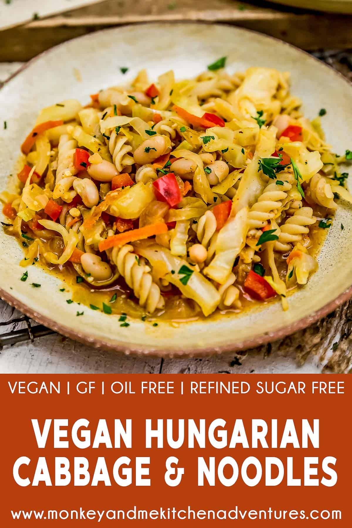 Vegan Hungarian Cabbage and Noodles with text description