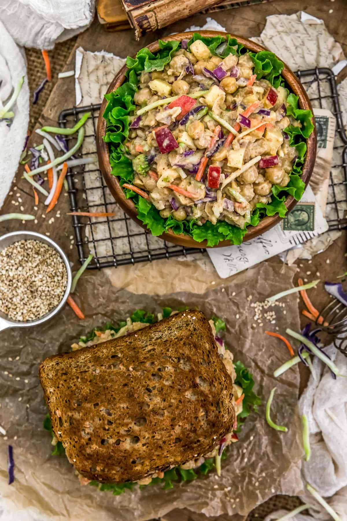 Tablescape of Asian Chickpea Salad