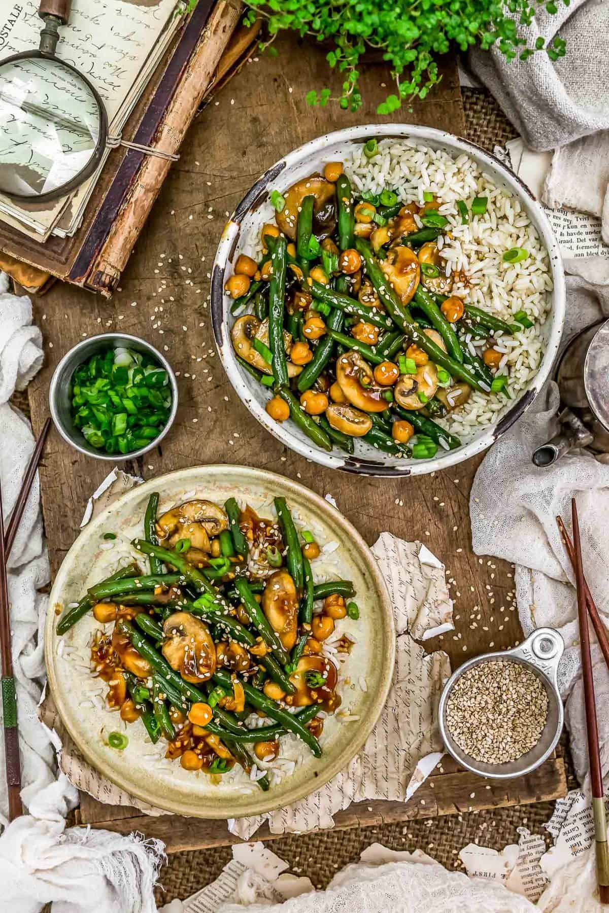Tablescape of Asian Green Beans and Mushrooms
