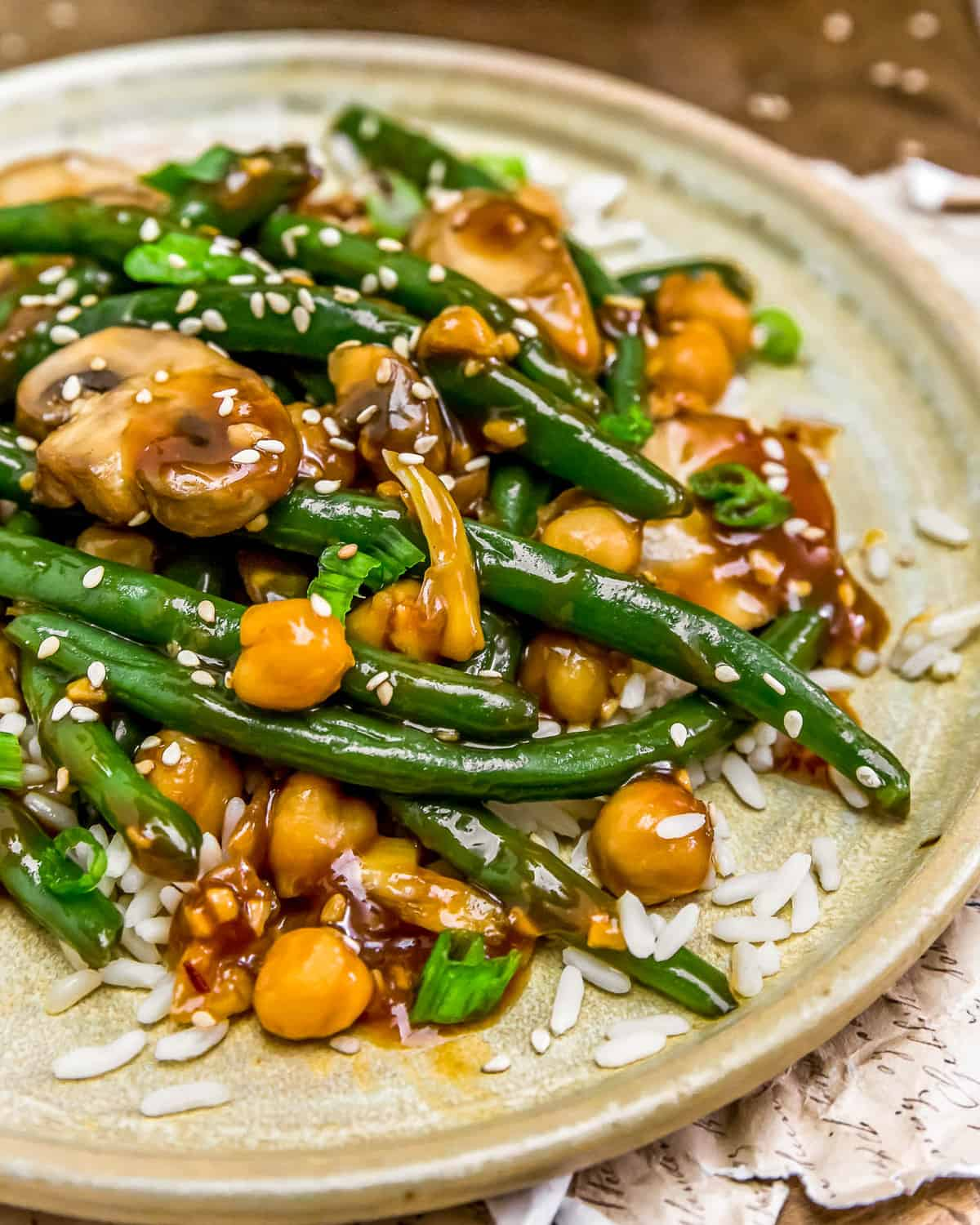 Close up of Asian Green Beans and Mushrooms