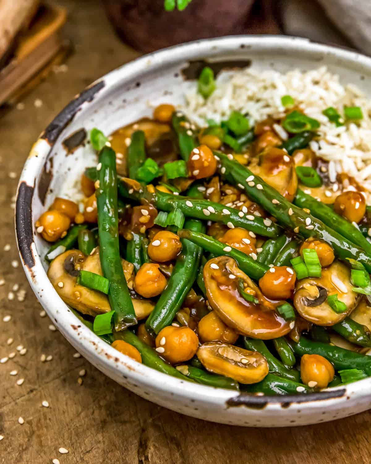 Bowl of Asian Green Beans and Mushrooms