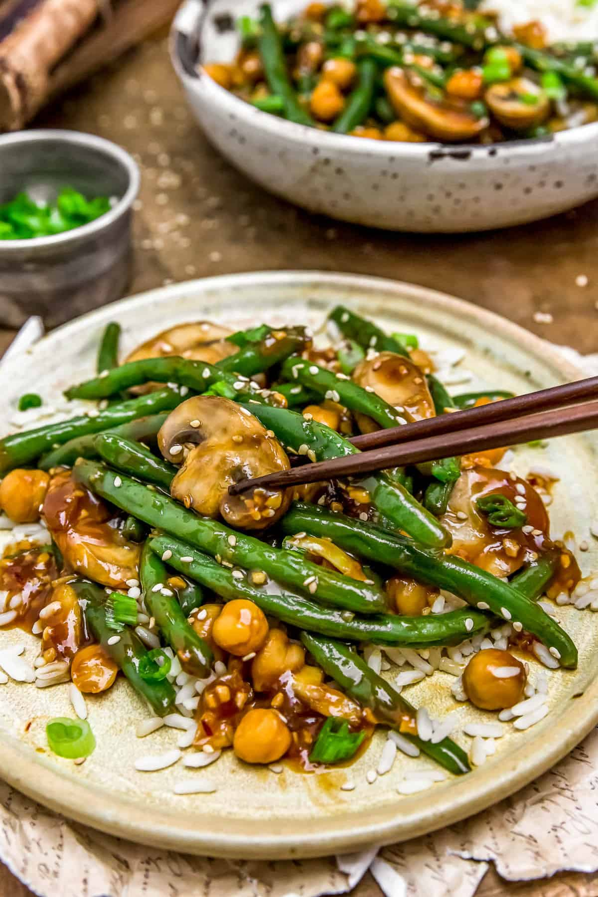 Eating Asian Green Beans and Mushrooms