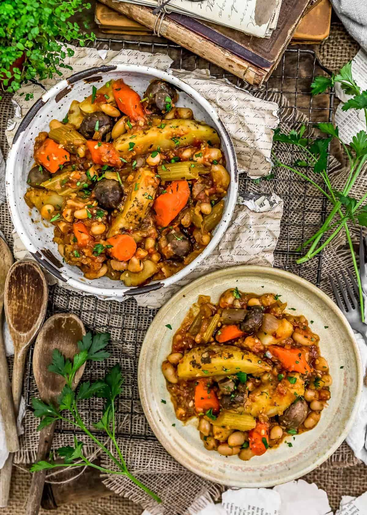 Tablescape of French Country Veggie Stew