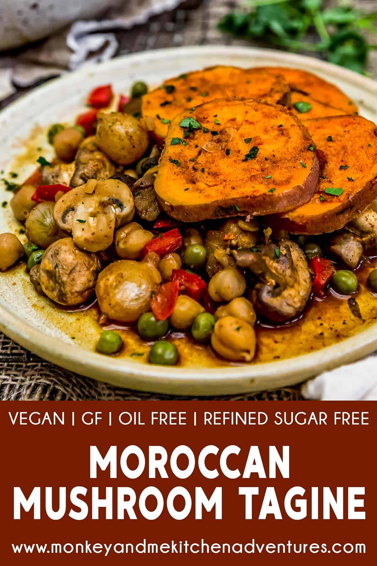 Moroccan Mushroom Tagine with text description
