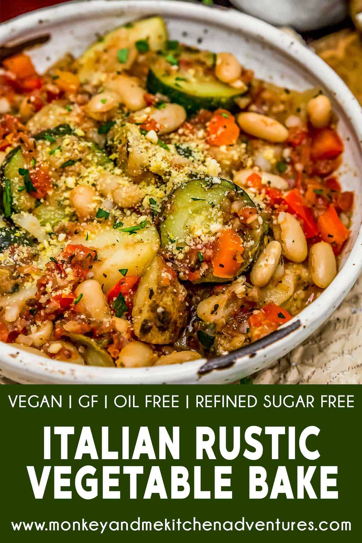 Rustic Italian Vegetable Bake with text description
