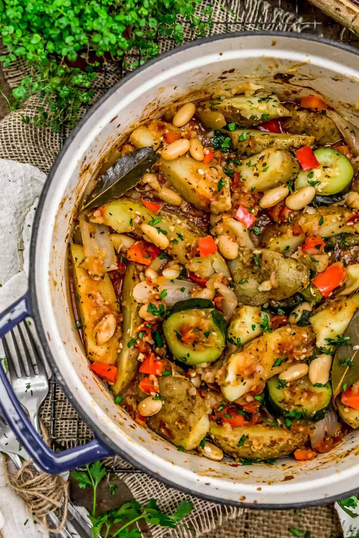 Pot of Rustic Italian Vegetable Bake