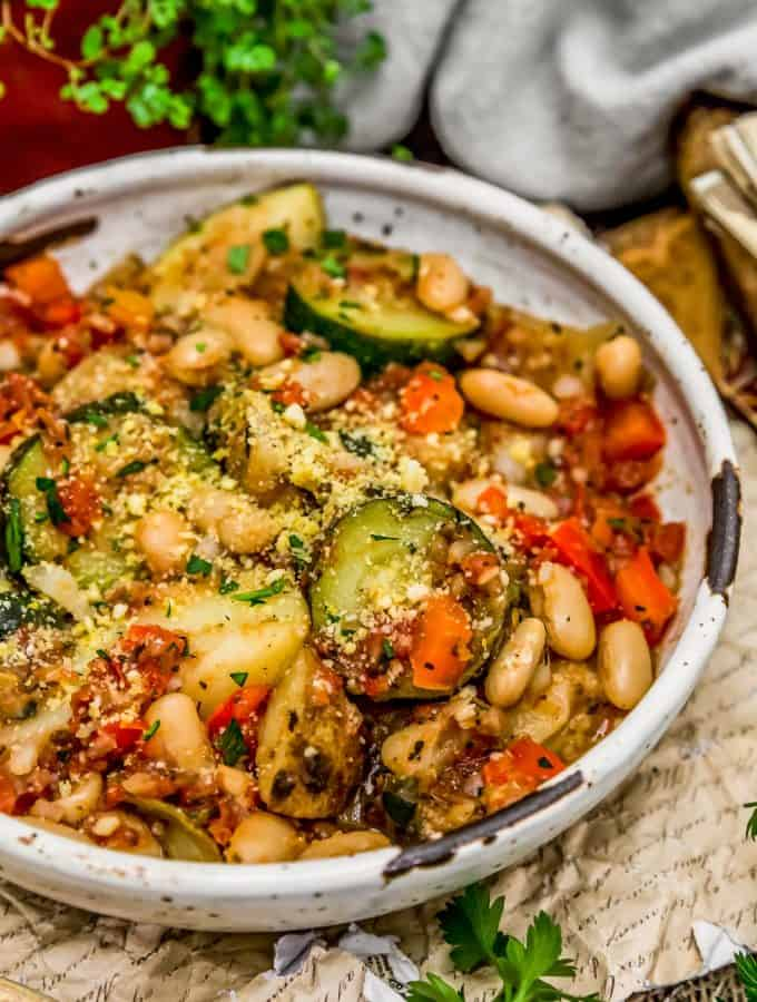 Rustic Italian Vegetable Bake in a bowl