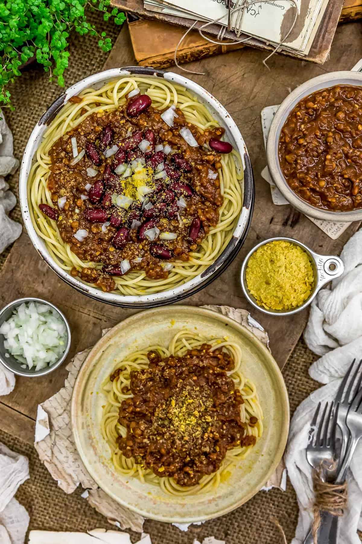 Tablescape of Vegan Cincinnati Chili