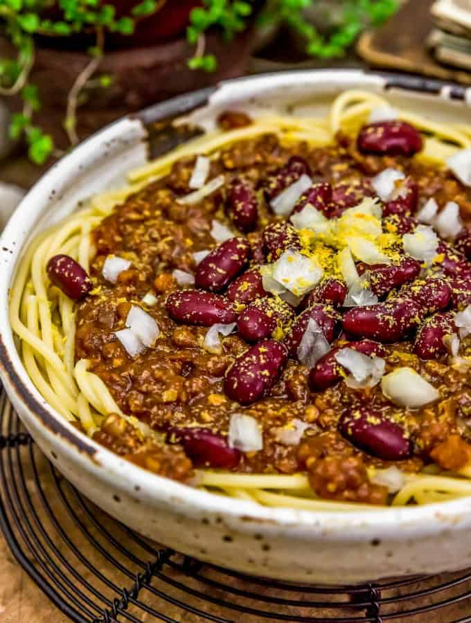 Close up of Vegan Cincinnati Chili 5 ways