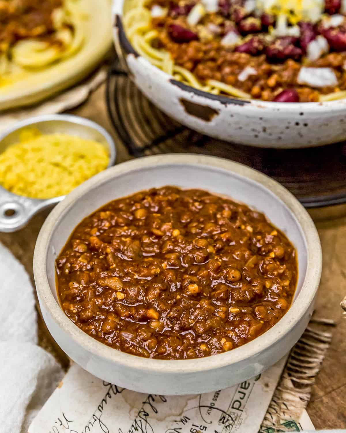 Vegan Cincinnati Chili in a bowl