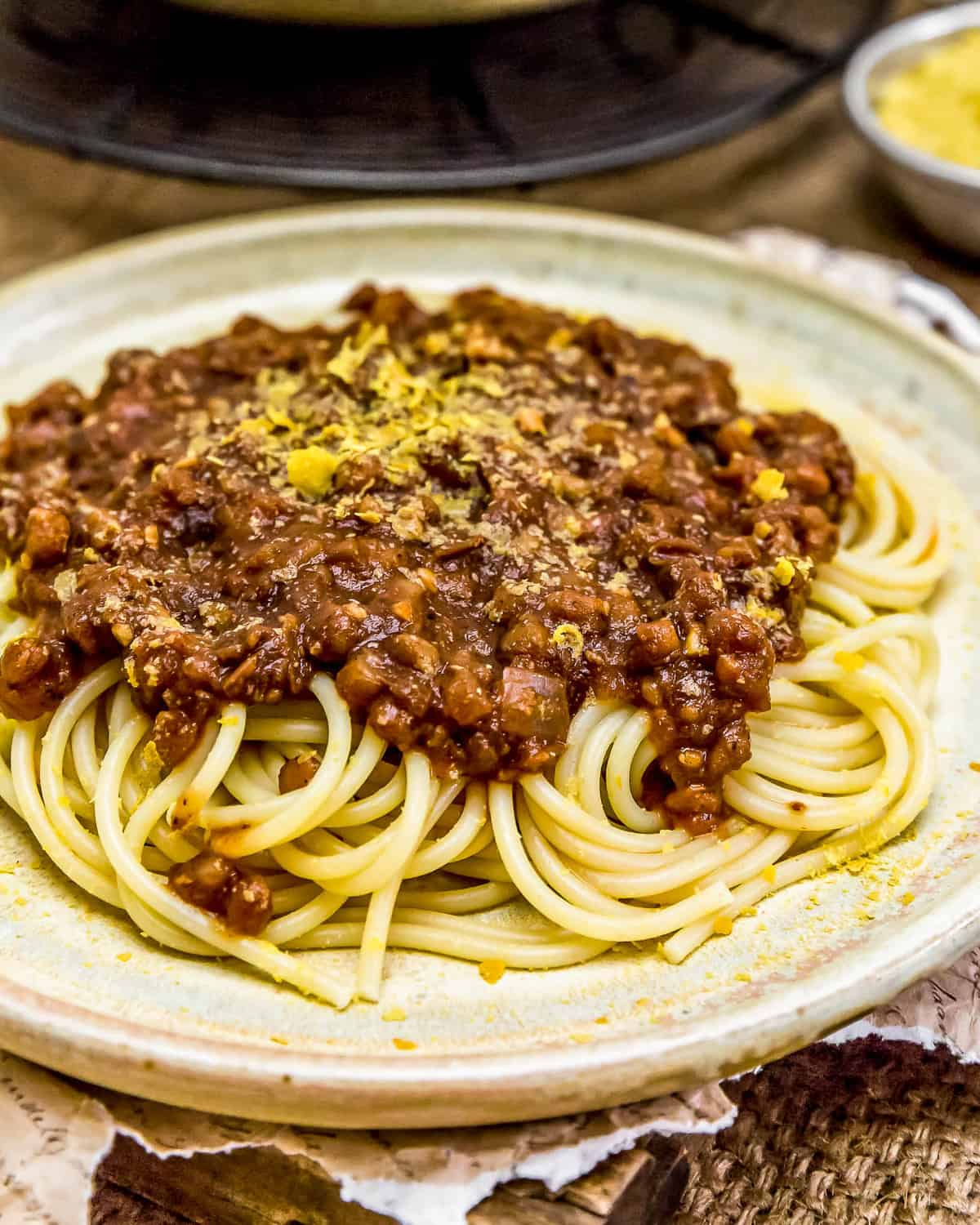 Close up of Vegan Cincinnati Chili over spaghetti