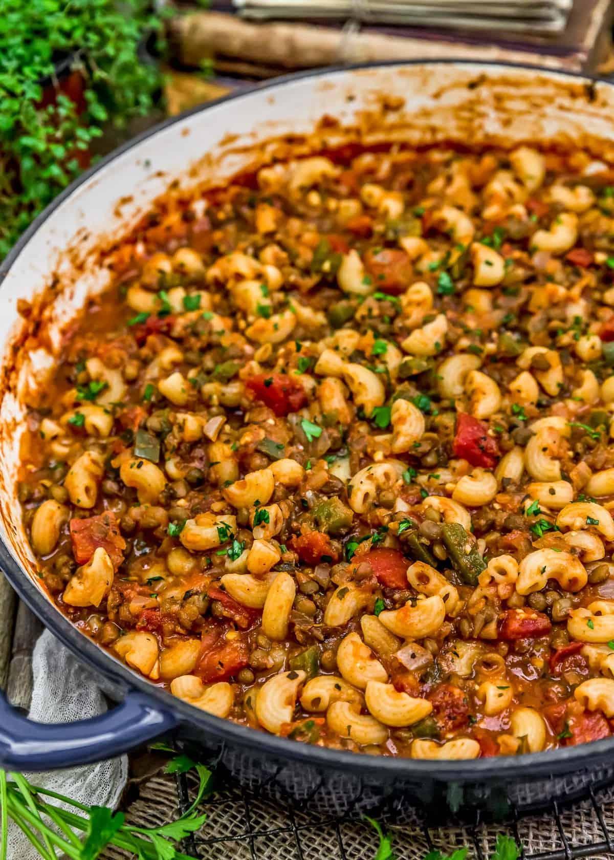 Close up skillet of Vegan Italian American Goulash
