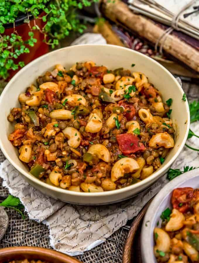 Bowl of Vegan Italian American Goulash