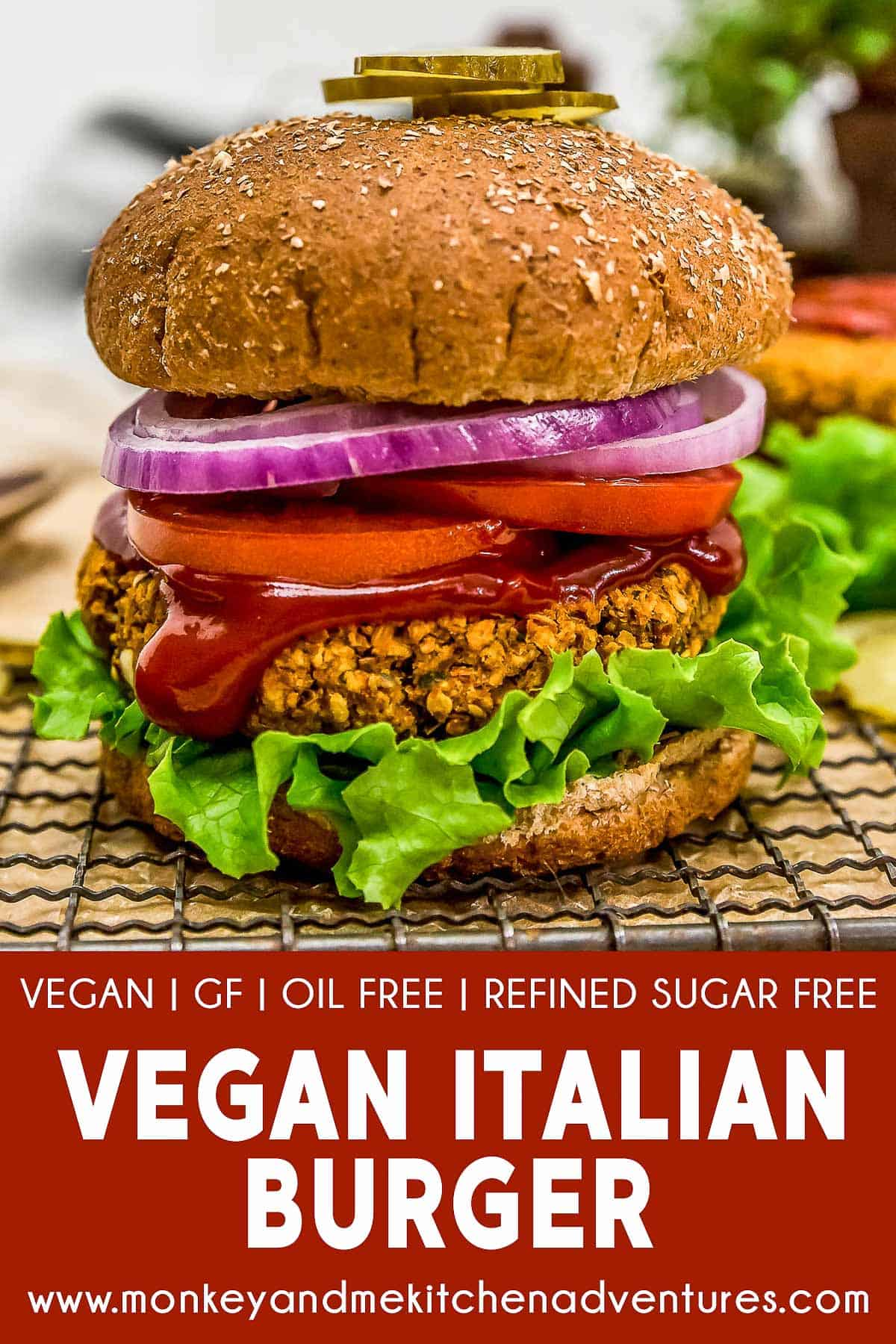 Vegan Italian Burger with text description