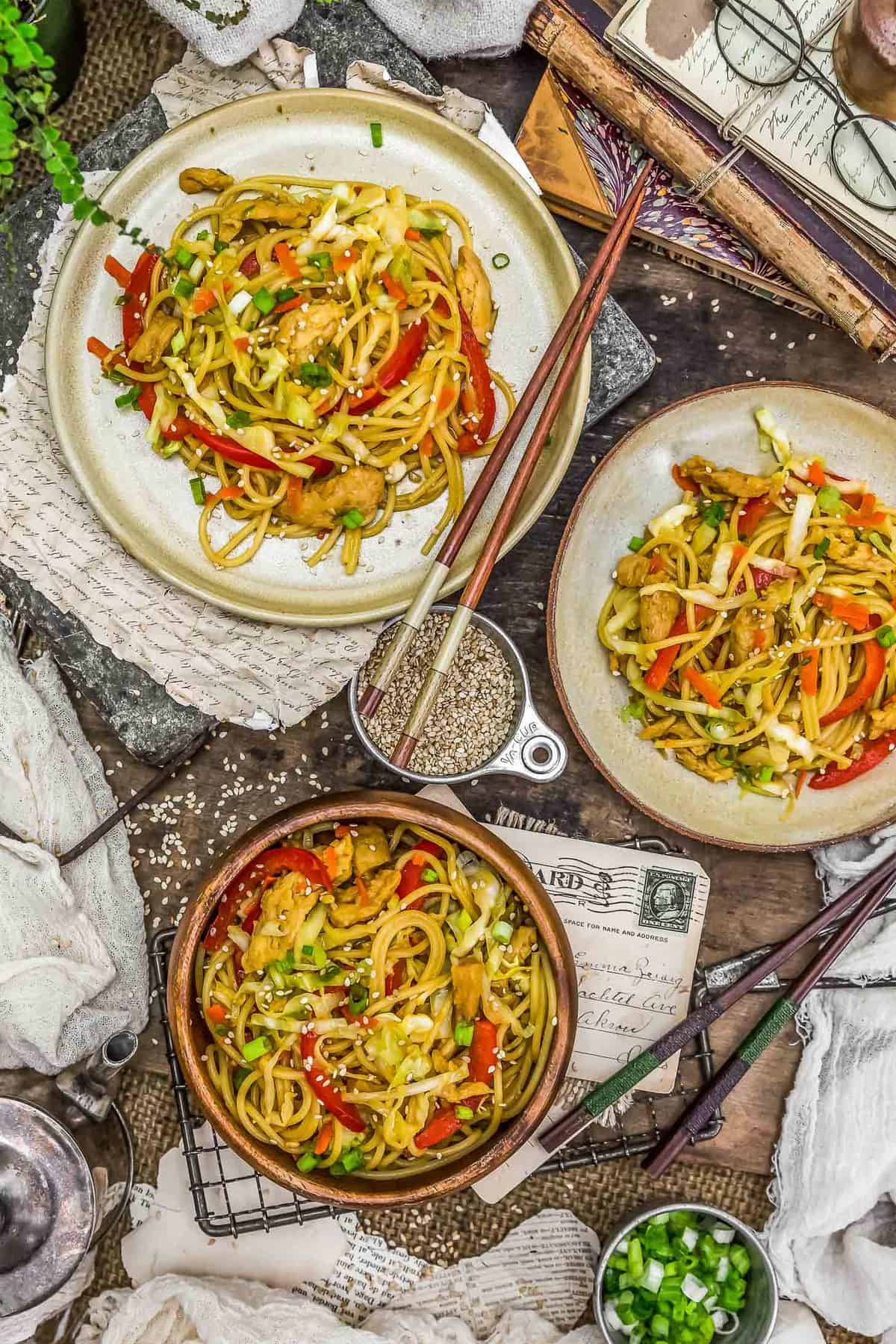 Tablescape of Vegetable Chow Mein