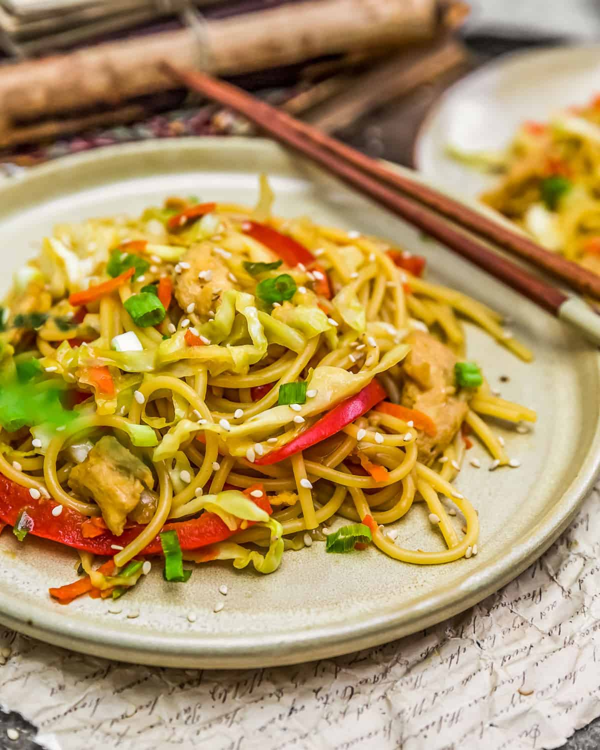 Plated Vegetable Chow Mein