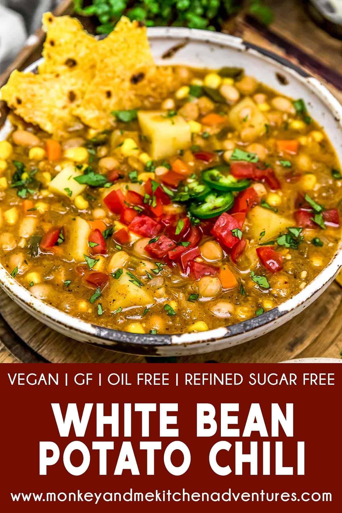 White Bean Potato Chili with text description