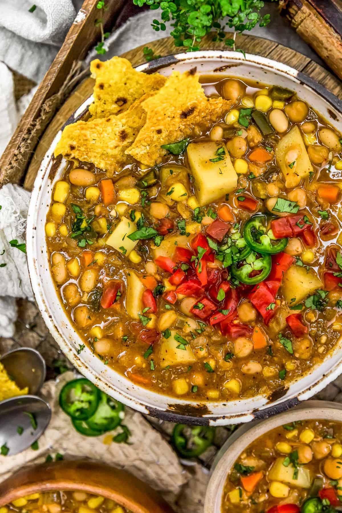 Bowl of White Bean Potato Chili