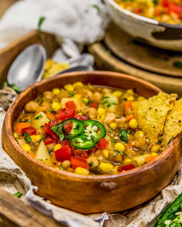 Close up of White Bean Potato Chili