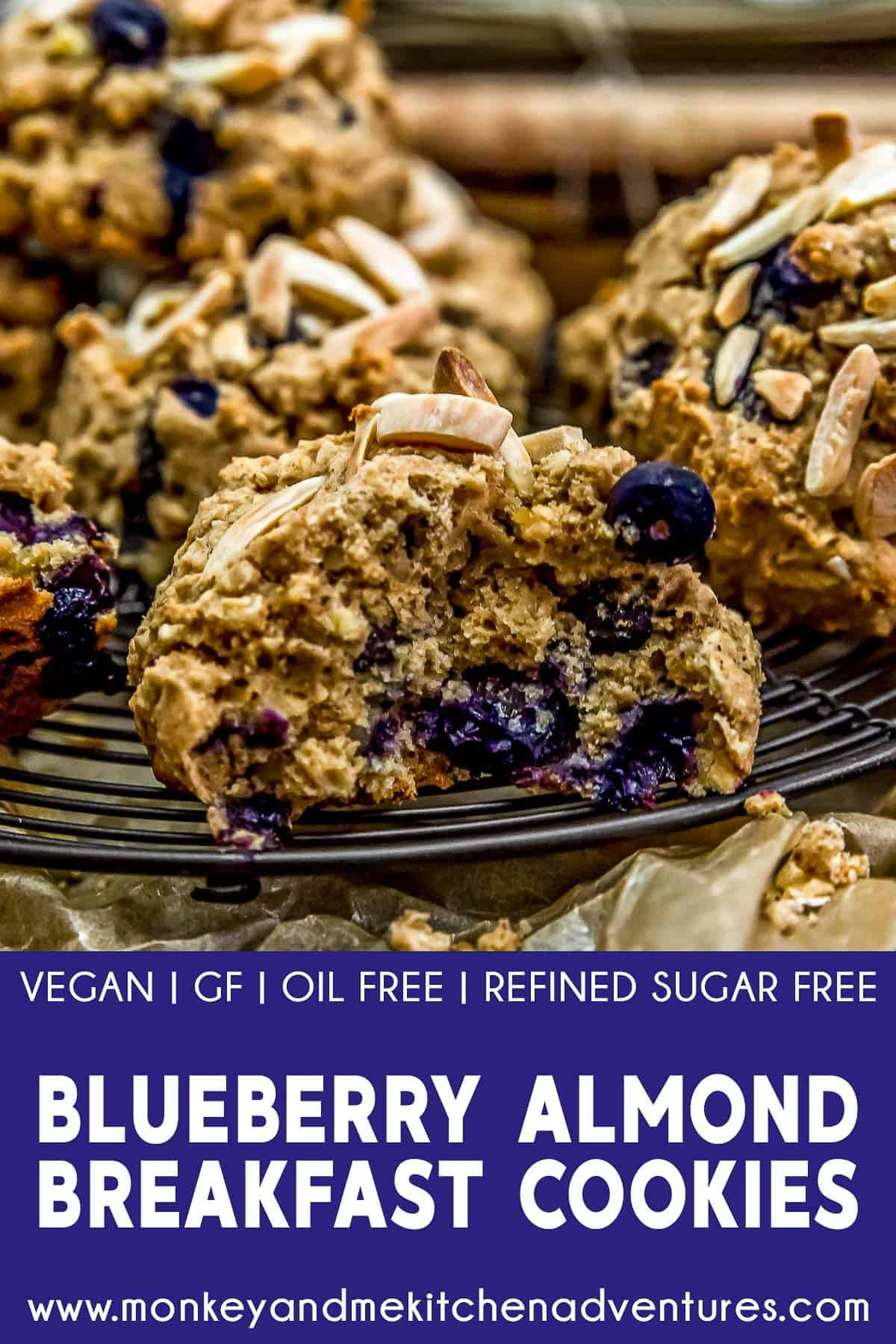 Blueberry Almond Breakfast Cookies with text description
