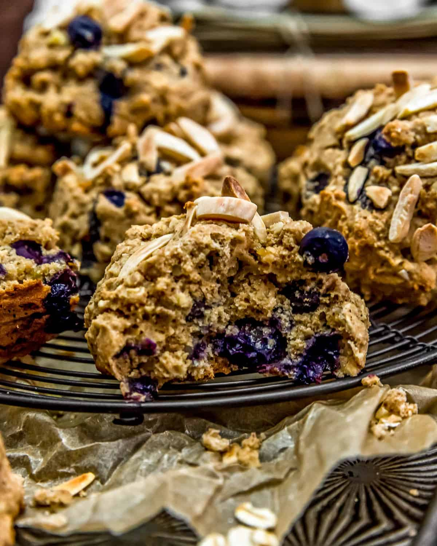 Blueberry Almond Breakfast Cookie being eaten