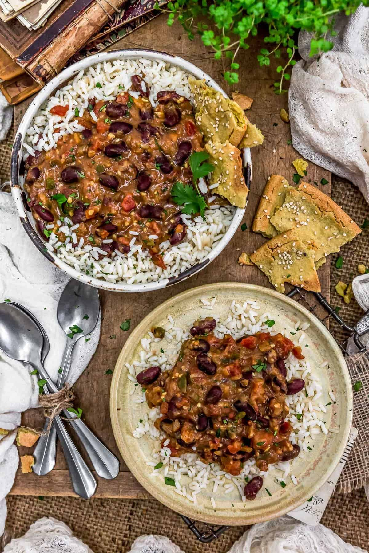 Tablescape of Easy Kidney Bean Curry
