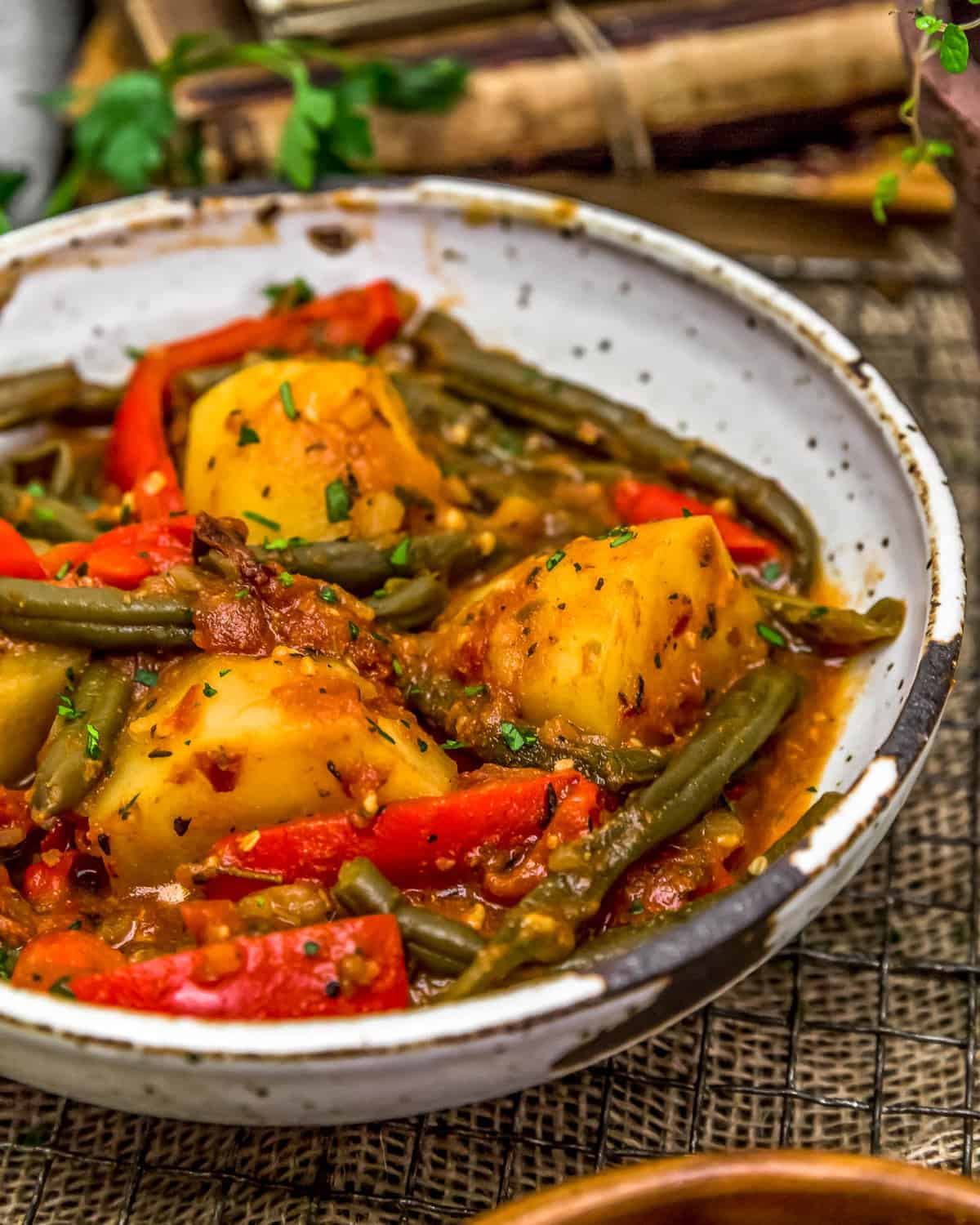 Close up of Italian Braised Green Beans and Potatoes