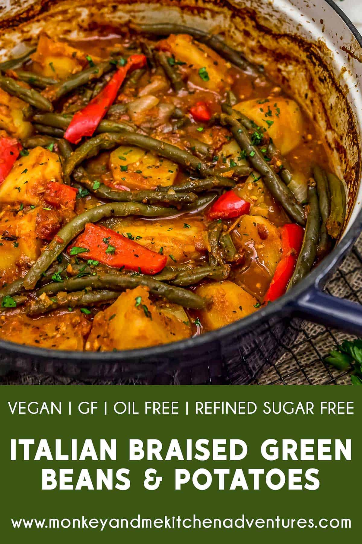 Italian Braised Green Beans and Potatoes with text description