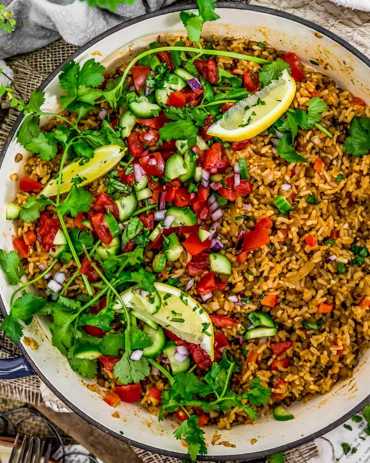 Close up skillet of Middle Eastern Rice and Lentils