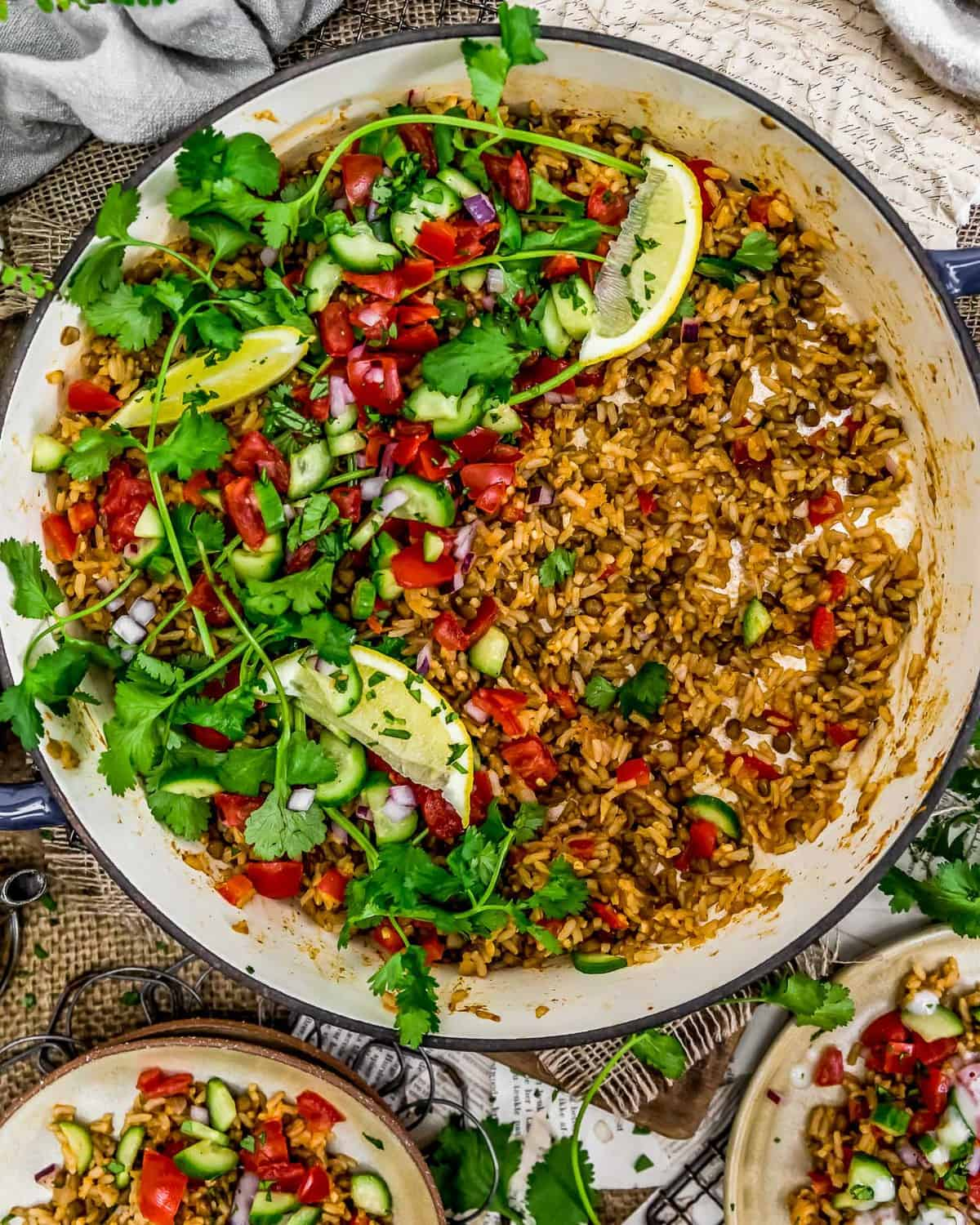 Tablescape of Middle Eastern Rice and Lentils