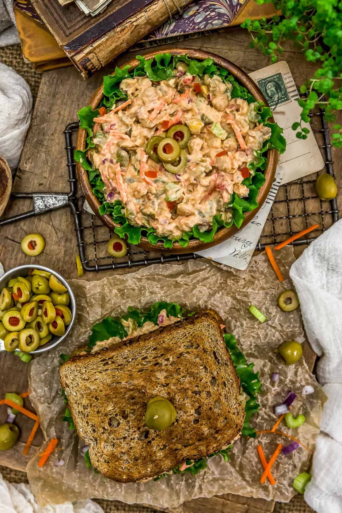 Tablescape of Pimento Olive Chickpea Salad