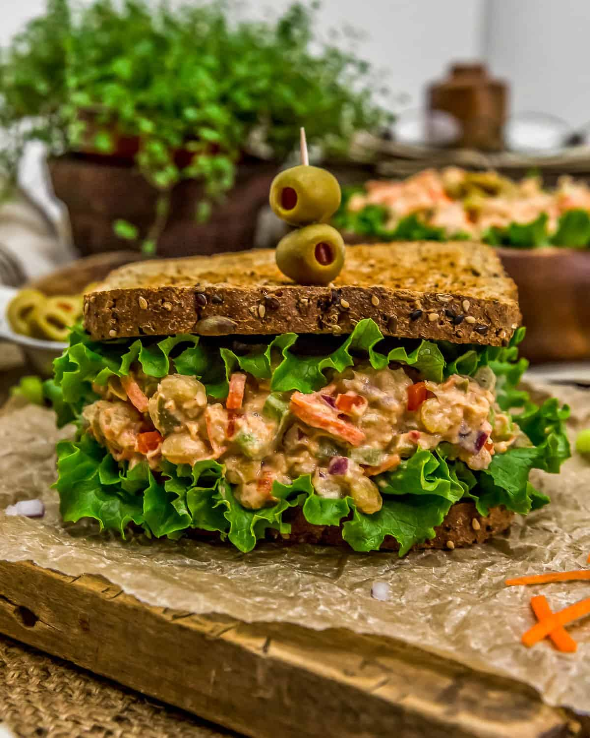 Pimento Olive Chickpea Salad in a sandwich