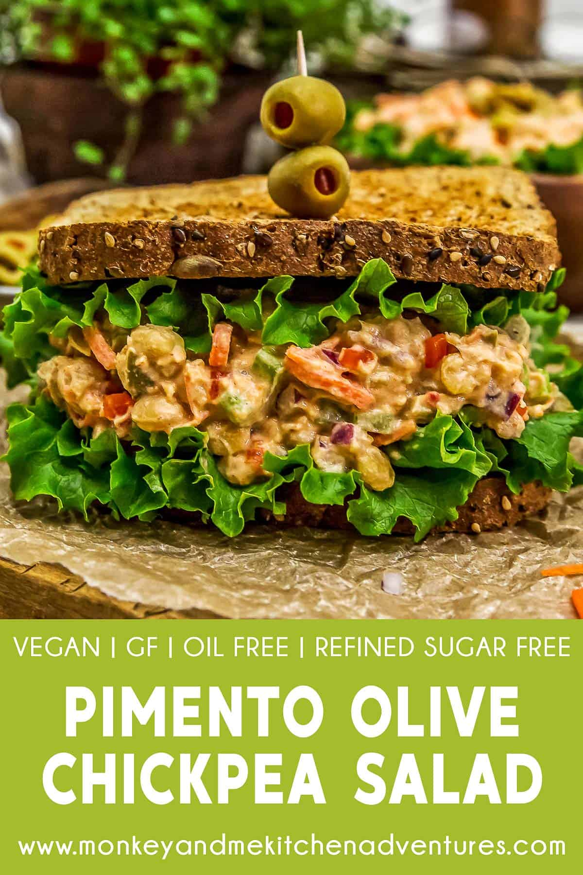 Pimento Olive Chickpea Salad with text description