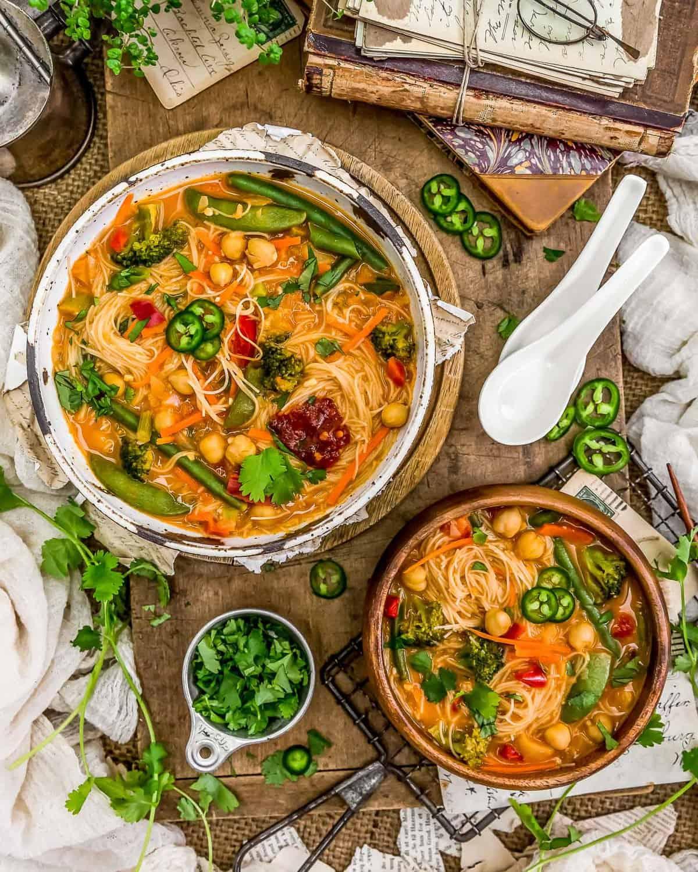 Tablescape of Thai Curry Chickpea Noodle Soup