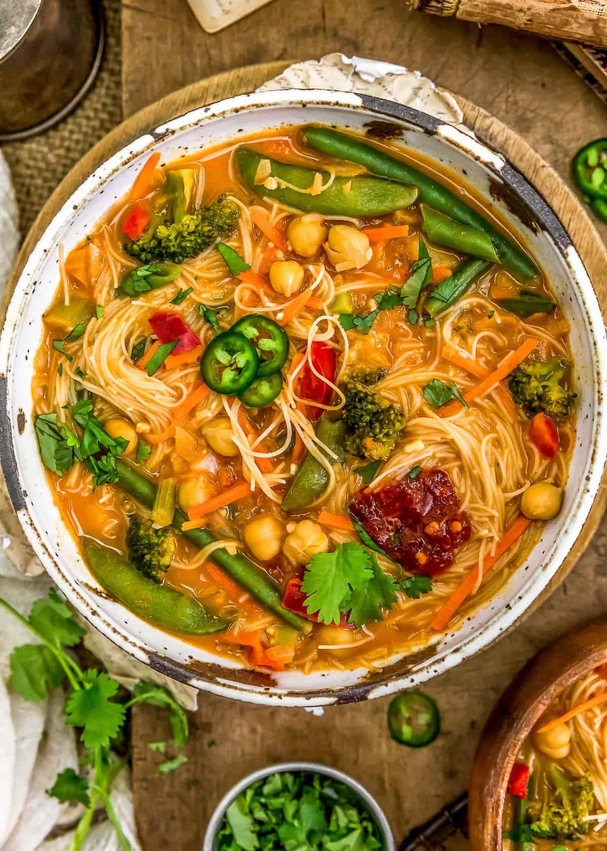 Bowl of Thai Curry Chickpea Noodle Soup