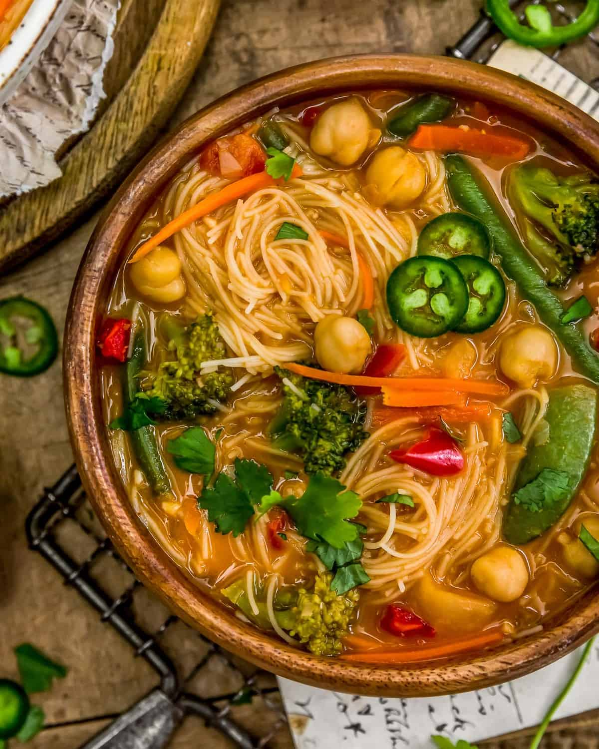 Close up of Thai Curry Chickpea Noodle Soup
