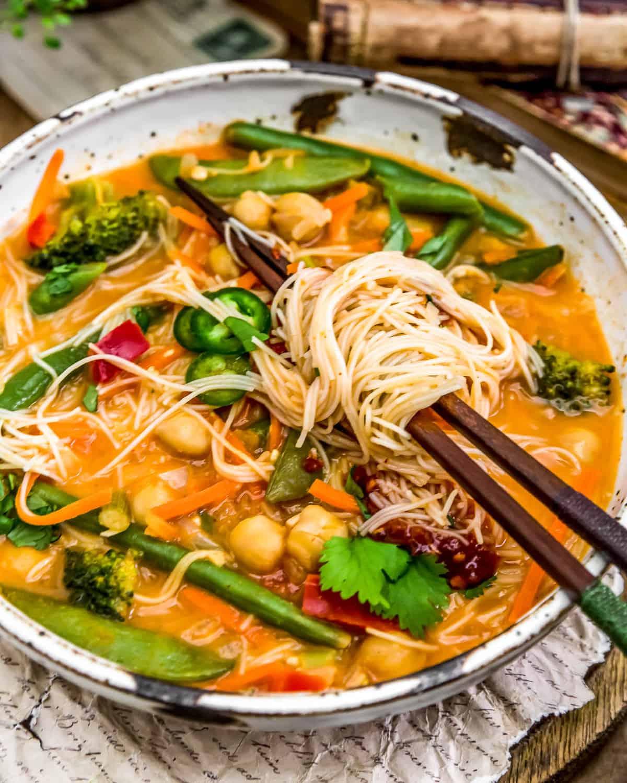 Thai Curry Chickpea Noodle Soup