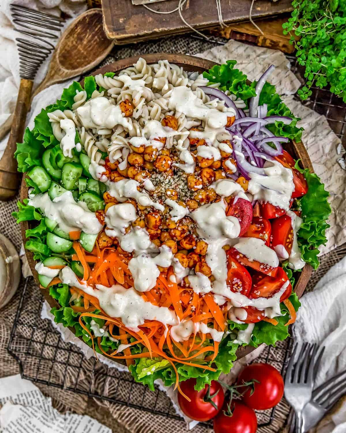 Vegan Blue Cheese Dressing on a salad