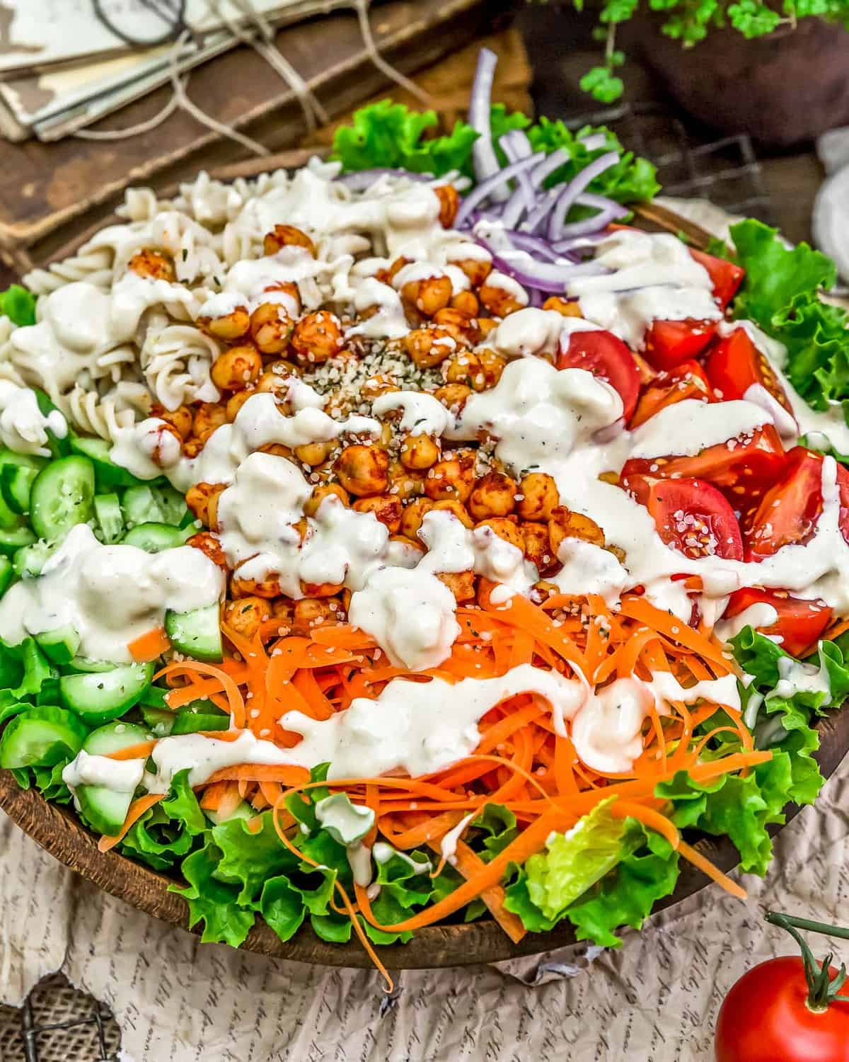 Close up of Vegan Blue Cheese Dressing on salad