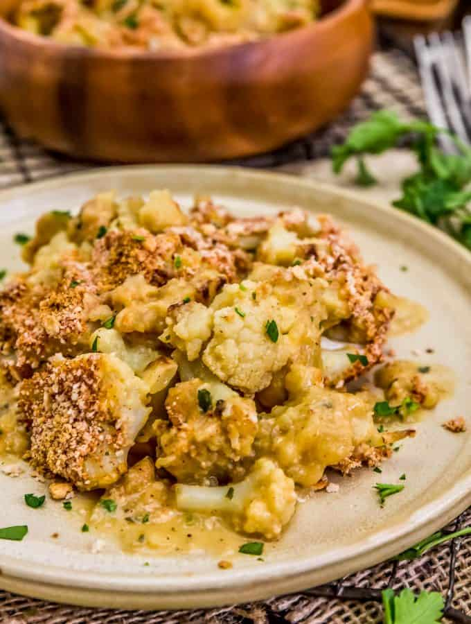 Close up of Vegan Cauliflower Au Gratin