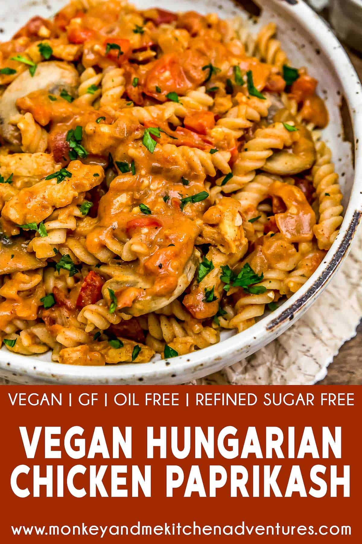 "Vegan Hungarian ""Chicken"" Paprikash with text description"