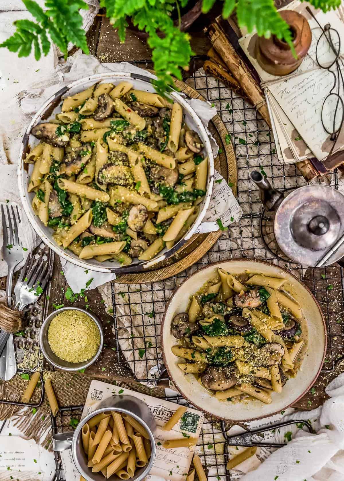 "Tablescape of Vegan ""Sausage"" Mushroom Pasta"