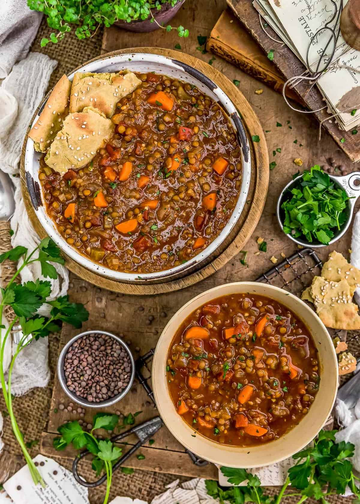 Tablescape of Warming Lentil Soup