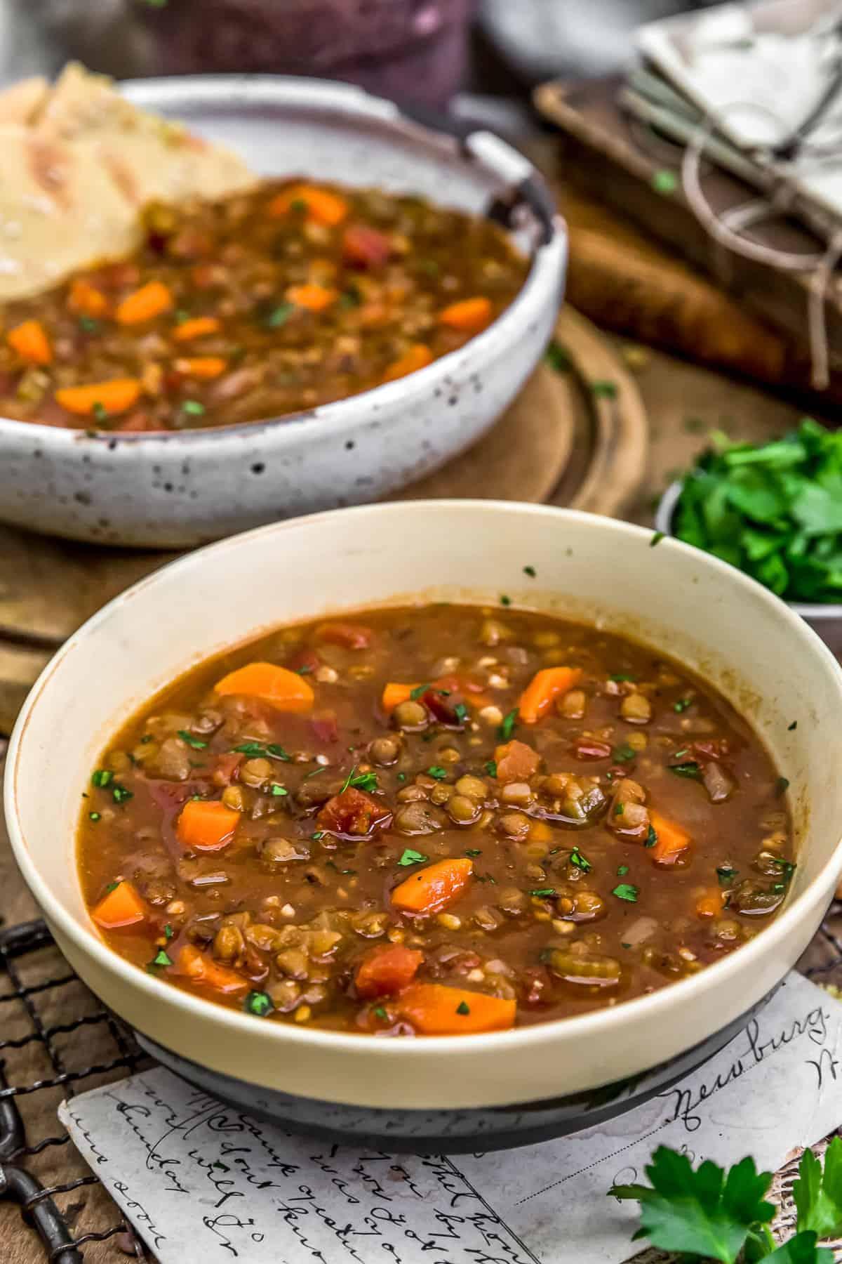 Served Warming Lentil Soup