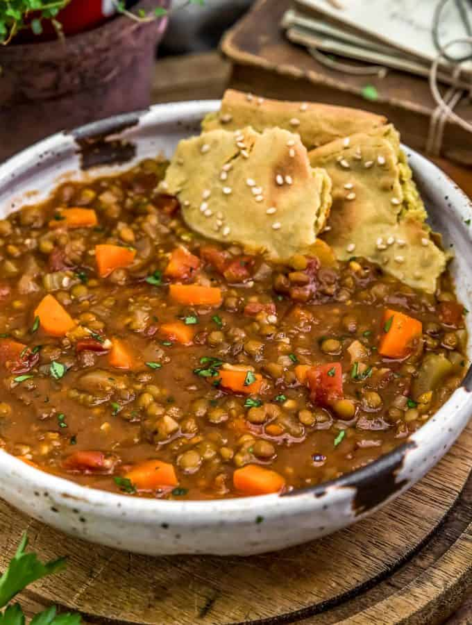 Warming Lentil Soup with quinoa flatbread
