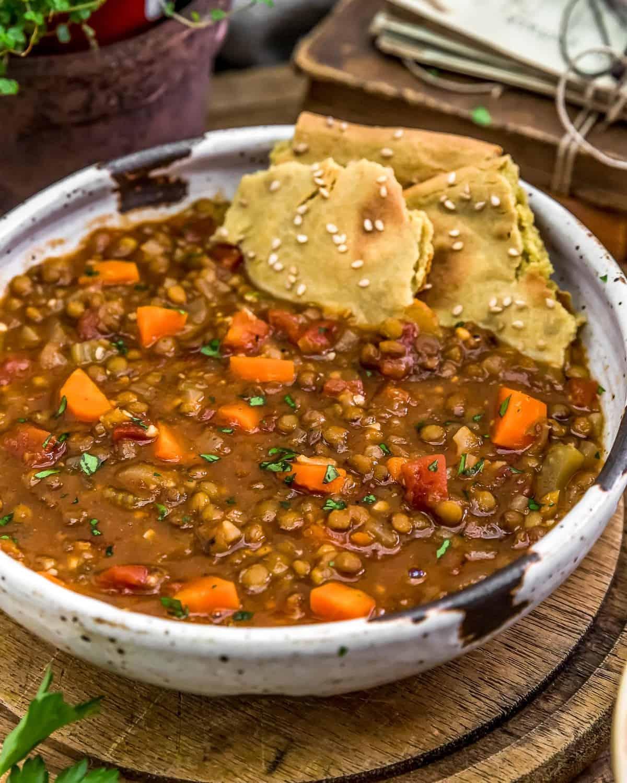 Warming Lentil Soup with quinoa flatbread