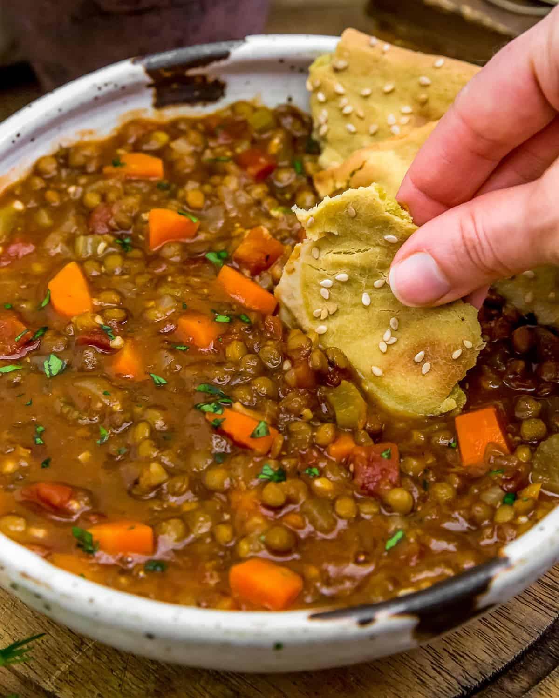 Eating Warming Lentil Soup