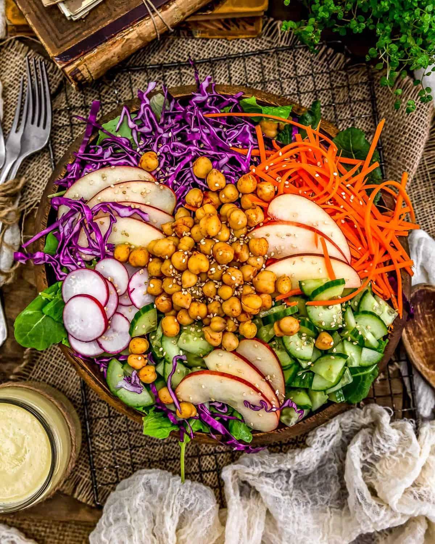Salad with a side of Apple Ginger Vinaigrette